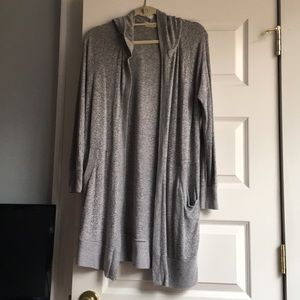 Altar'd State Long Hooded Gray Cardigan Size S
